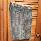 Men's Dockers Tan Black Plaid Flat Front Shorts Size 38 NWOT