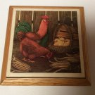 "Wooden Rooster Trinket Jewelry ""Odds & Ends"" Box 5"" x 5"" with Lid"