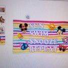 Disney Emoji Premium Beach Towel with Bag With  Mickey, Minnie, and Stitch