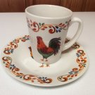 Set of Gibson Home Rooster Chicken Poultry Farm Life Mug Cup/Small Plate Saucer