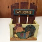 Vtg Letter Mail Bill File Holder Wall Hanging Chicken Rooster Farm Country