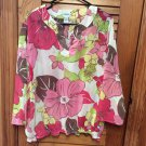 Chico's Size 2 Super Colorful L/S Elastic Bottom Semi Sheer Pullover Top Blouse