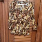 Christopher & Banks Brown Print Double Breasted 3/4 Sleeve Stretch Top Blouse XL