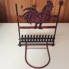 Rustic Distressed Folding Blk/Red Rooster Chicken Poultry Farmhouse Hanger Shelf