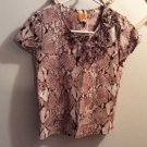 RUBY RD. Top Brown Short Sleeves Sequin Ruffle Neckline Women's PS Petite Small