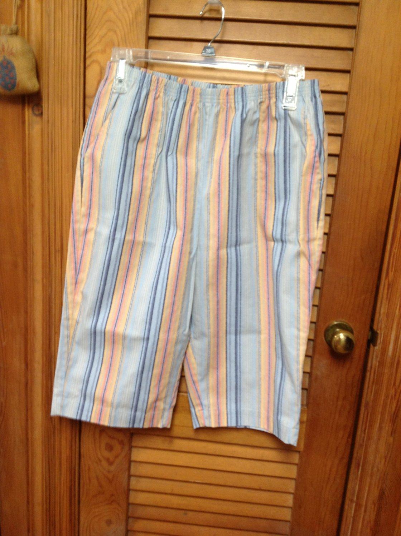 """Blair Stripe Peach Blue Cropped Capris Pants Size 18PT Inseam 15"""""""