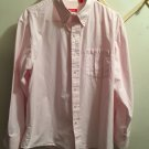 Izod Women's L/S Button Front White/Pink Stripe Oxford Blouse Top Large