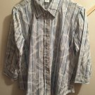 Maggie & Max  Ladies Long Sleeve Button Front Blue Stripe Blouse Top Size S