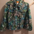 Ruby Rd. Petite Sheer Blue Turquoise BLK Jacket Blouse Top Size 16P