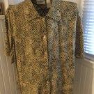 Elisabeth Liz Claiborne Animal Print Short Sleeve Button Front Top Blouse Sz 16