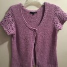 Ladies Willi Smith Lavender Crocheted Short Sleeve Cardigan Sweater Size Large