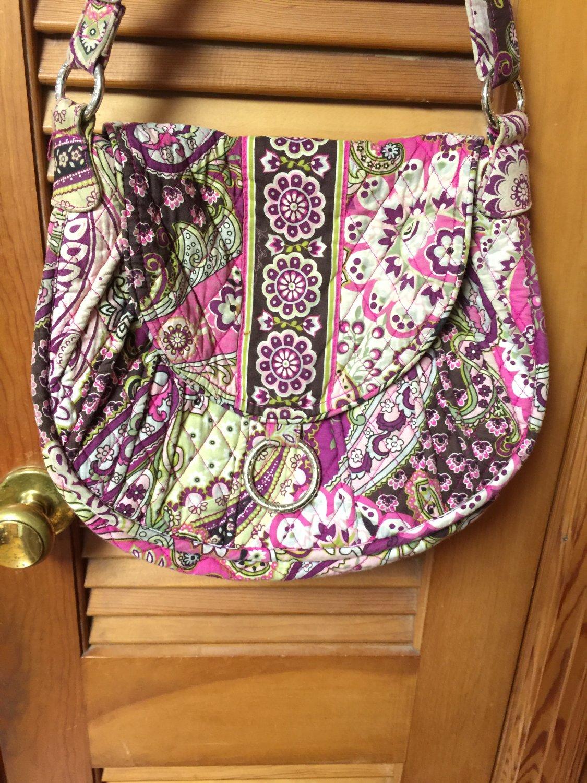 Vintage Vera Bradley Pink Green Cream Brown Shoulder Bag Purse Magnetic Fasten