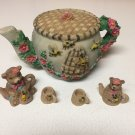 Vintage Large Pitcher, 2 Bear Pitchers 2 Cups Miniatures Honey Bee Bears Tea Set