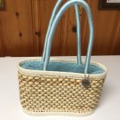 The Sak Original Woven 100% Corn Husk Double Handle Drawstring Bucket Hand Bag !