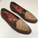 Ladies Hush Puppies Brown/Beige Embroidered Leather Shoes Size 9M