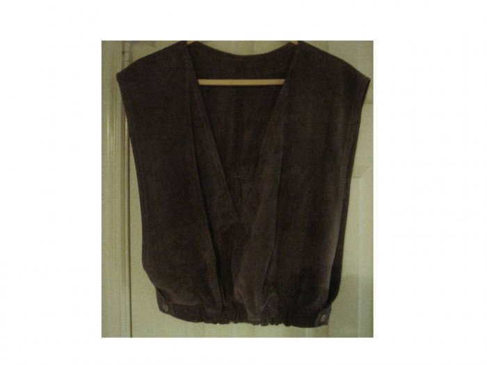 Vintage Dark Grey Suede V-Neck Vest