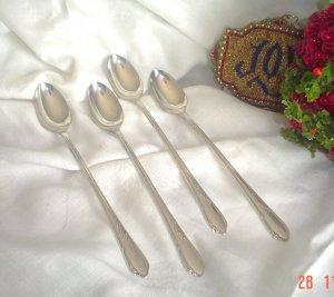 Vintage Ice Tea Spoons by Rogers A1 Plus Oneida Ltd IVY Iced Tea Spoons Set of 4