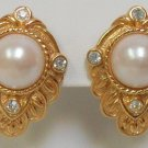 KJL Kenneth J Lane Rhinestone and Pearl Earrings