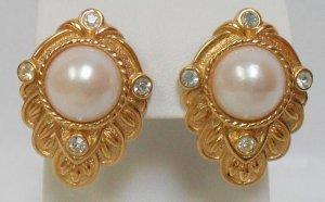 KJL Kenneth J Lane Rhinestone and Pearl Earrings