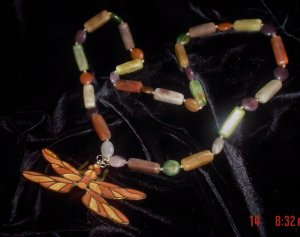 SALE Vintage  1960s Retro Dragonfly w/ mixed color beads Necklace