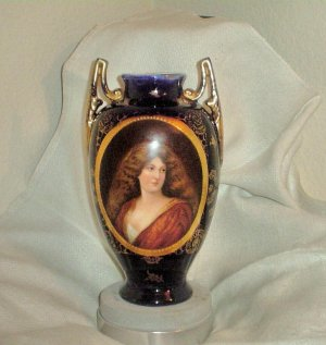 Royal Vienna Vase  Cobalt Blue & Gold w/ Portrait