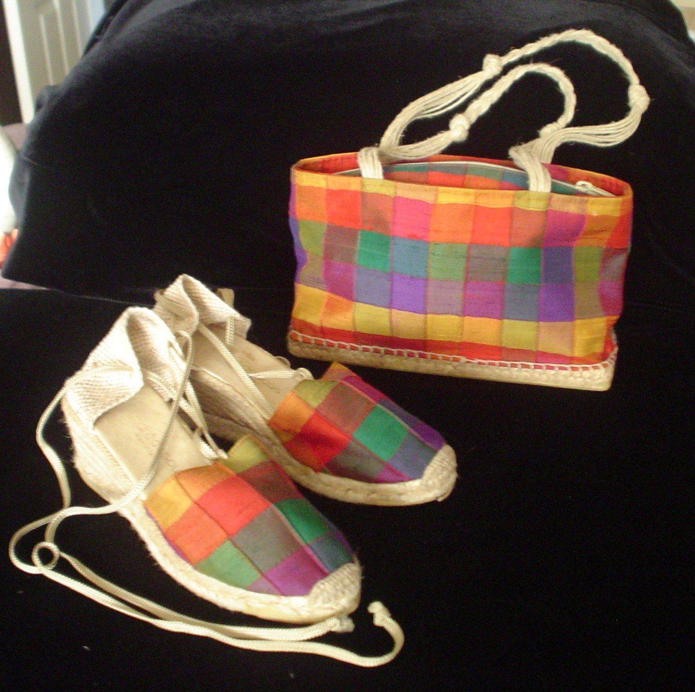Sale - Vintage Andre Assous  SET Silk Multi-color Espadrilles with Matching Purse