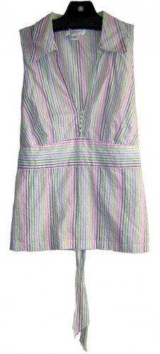 ANN TAYLOR LOFT PETITES Striped Green Blue Shirt 14 Petite