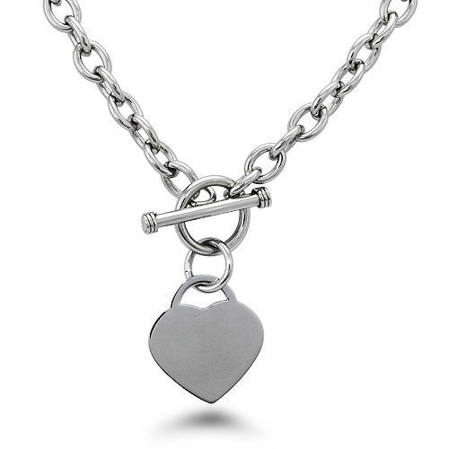 Stainless Steel Heart Tag Necklace - N30013