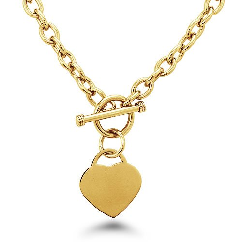 Gold Plated Stainless Steel Heart Tag Necklace - N30013Y