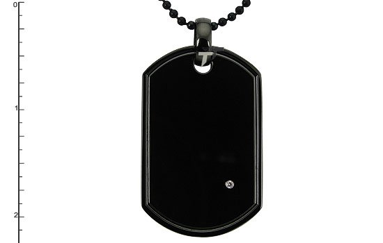 Black Stainless Steel Dog Tag with Diamond - P30139