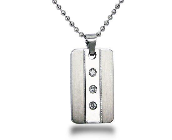 Stainless Steel CZ Pendant - P30146