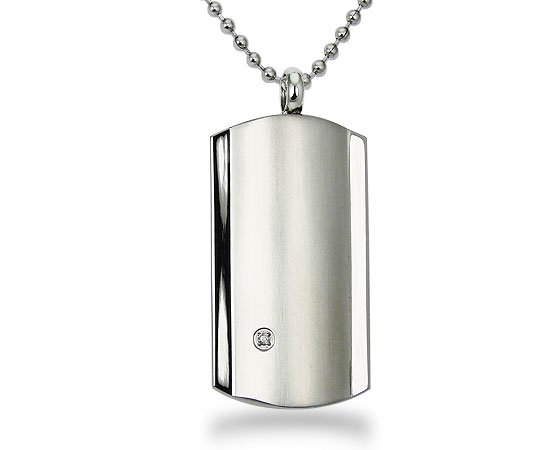 Stainless Steel Dog Tag with Diamond - P30148