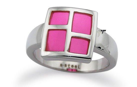 Stainless Steel Ladies Ring w/ Pink Resin Inlay - R32002