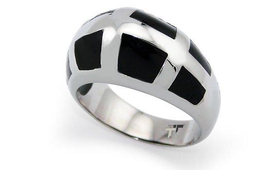 Stainless Steel Ladies Ring w/ Black Resin Inlay - R32020