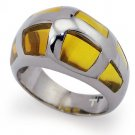 Stainless Steel Ladies Ring w/ Amber Resin Inlay - R32022