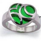 Ladies Heart Stainless Steel Ring w/ Green Resin Inlay - R32027