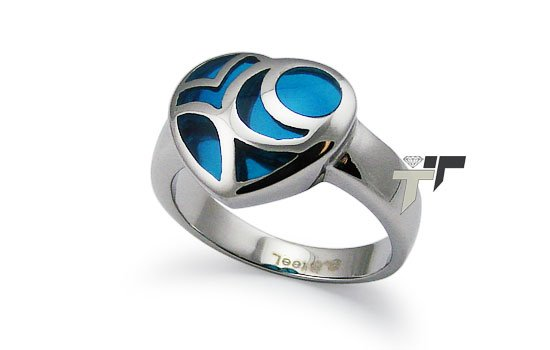 Ladies Heart Stainless Steel Ring w/ Blue Resin Inlay - R32028