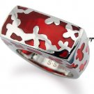 Stainless Steel Women's Ring w/ Red Resin Inlay - R32029