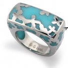 Stainless Steel Women's Ring w/ Turquoise Resin Inlay - R32030