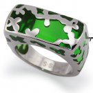 Stainless Steel Women's Ring w/ Green Resin Inlay - R32031