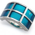 Stainless Steel Women's Ring w/ White Resin Inlay - R32035