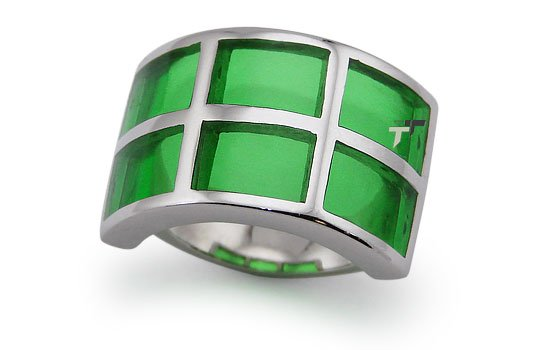 Stainless Steel Women's Ring w/ Green Resin Inlay - R32037