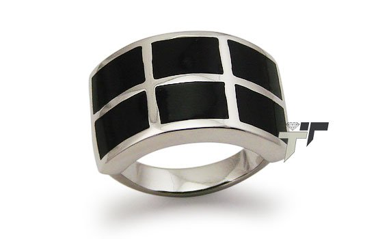 Stainless Steel Women's Ring w/ Black Resin Inlay - R32038