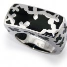 Stainless Steel Women's Ring w/ Black Resin Inlay - R32040