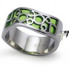 Stainless Steel Women's Ring w/ Peridot Resin Inlay - R32041
