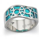 Stainless Steel Women's Ring w/ Aqua Marine Resin Inlay - R32042