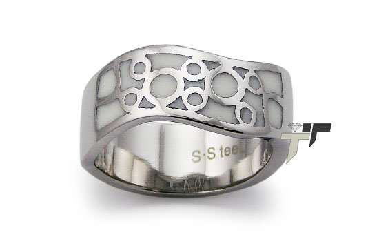 Stainless Steel Women's Ring w/ White Resin Inlay - R32043