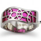 Stainless Steel Women's Ring w/ Pink Resin Inlay - R32044