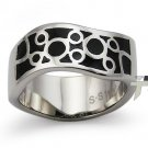 Stainless Steel Women's Ring w/ Black Resin Inlay - R32045