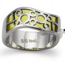 Stainless Steel Women's Ring w/ Yellow Resin Inlay - R32046